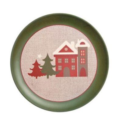 Prato Natal casinhas borda verde (unidade)