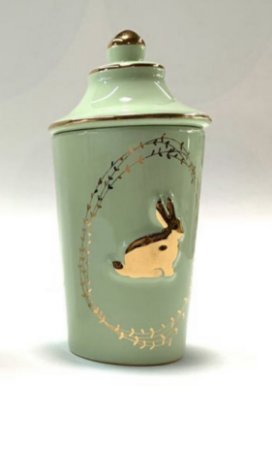 Pote decorativo c/ relevo em coelho com tampa Verde Pastel
