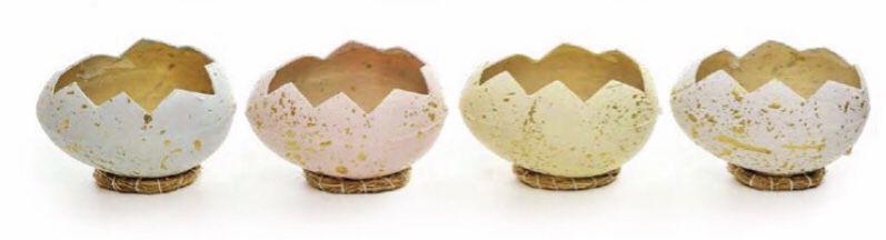 Casca Ovo decorativo com suporte de fibra ( unidade)