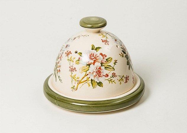 Queijeira em cerâmica com estampa Gardênia