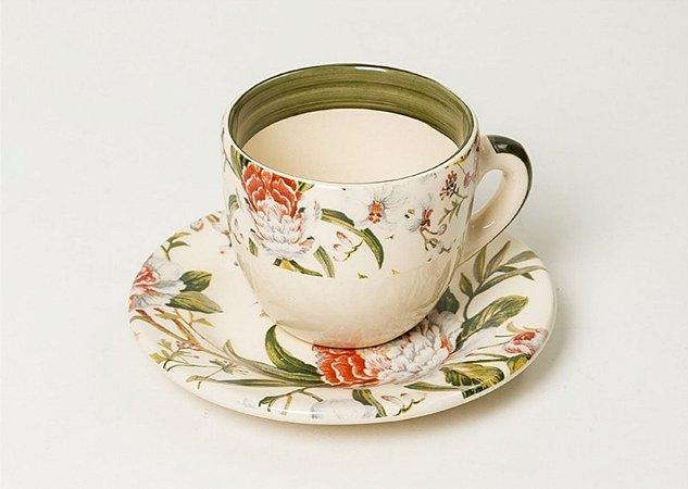 Xícara de chá em Cerâmica com estampa Gardênia set. c/6un.