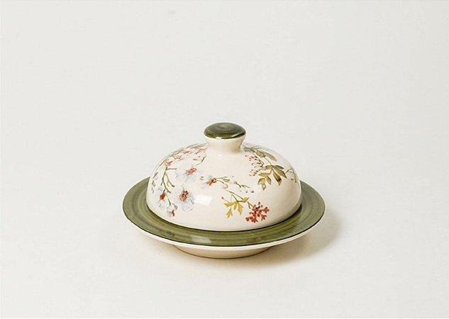 Manteigueira em Cerâmica com Estampa Gardênia