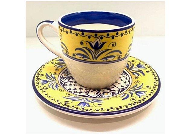 Xícara em Cerâmica com Estampa Fiore set. c/ 6un.