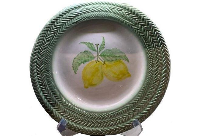 Jogo de Jantar em Cerâmica com Estampa Limão siciliano treliça pintado set. c/6un
