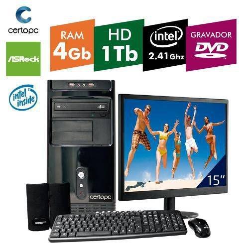 Computador + Monitor 15 Intel Dual Core 2.41ghz 4gb Hd 1tb Dvd Certo Pc Fit 036