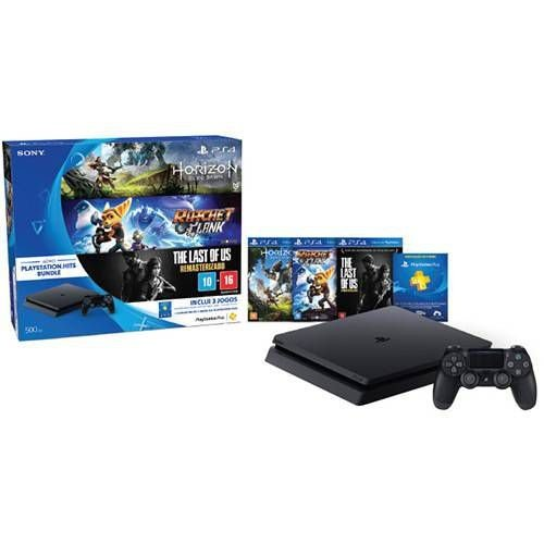 Console PS4 500GB Hits Bundle + 3 Jogos + Controle Wireless DualShock 4 - Sony