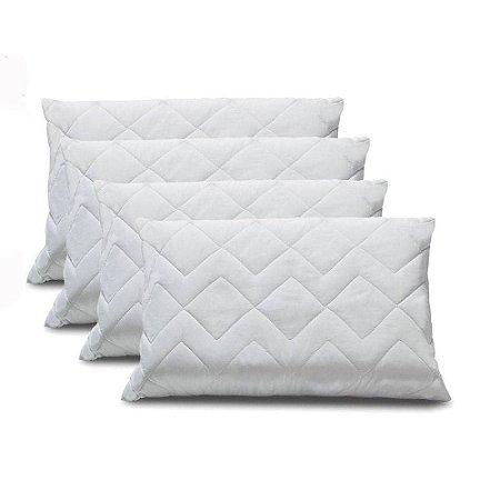 Kit 4 Protetor de Travesseiro Impermeável em Matelassê 100% Algodão 50x70cm
