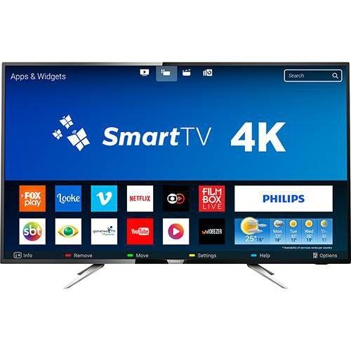 "Smart TV LED 50"" Philips 50PUG6102/78 UHD 4K com Conversor Digital 4 HDMI 2 USB Wi-fi 60hz - Preta"