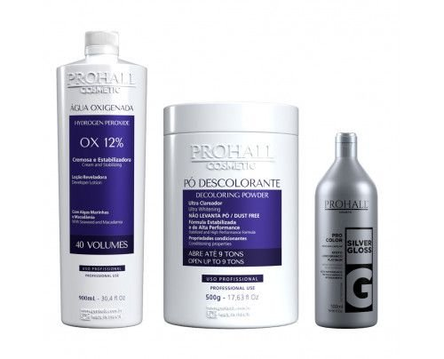 Prohall - Kit Ox 40 + Pó Descolorante azul + Matizador Silver Gloss