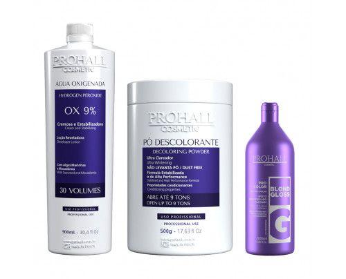 Prohall - Kit Ox 30 + Pó Descolorante azul + Matizador Blond Gloss