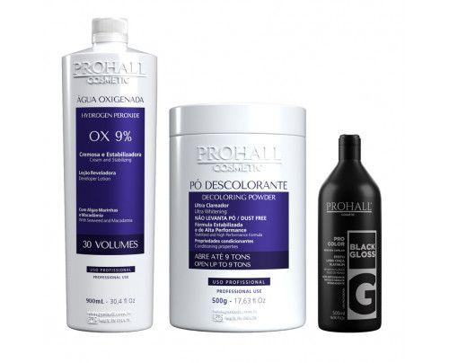 Prohall - Kit Ox 30 + Pó Descolorante azul + Matizador Black Gloss