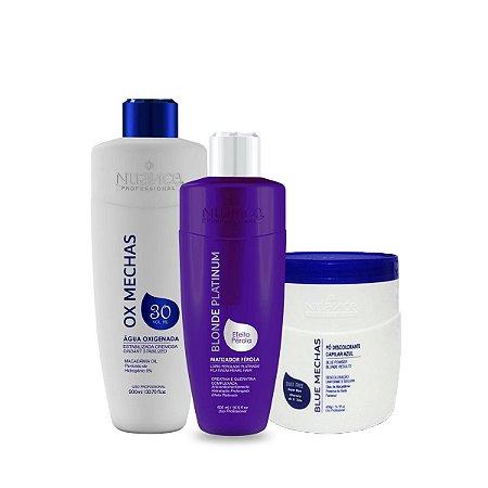 Nuance Professional – Matizador Blonde Pérola + Pó Descolorante Azul + OX 30 Volumes