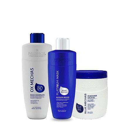 Nuance Professional – Matizador Mask Branco + Pó Descolorante Azul + OX 30 Volumes