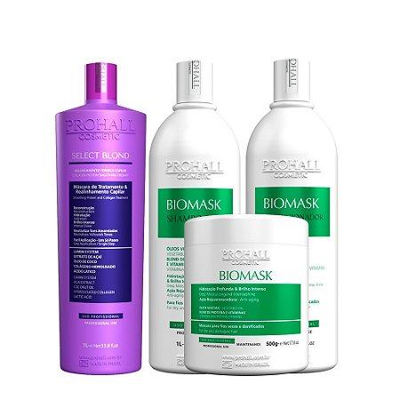 Prohall - Escova Progressiva Select Blond + Kit Professional Biomask