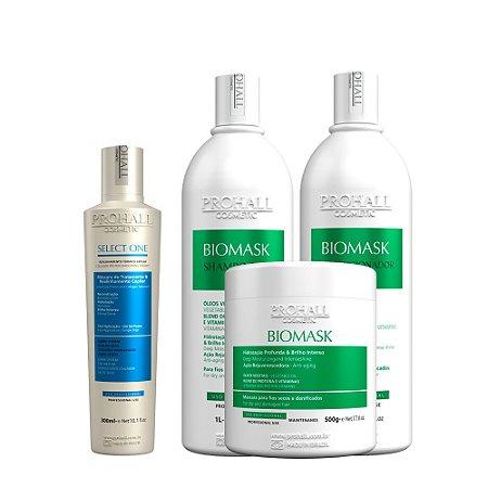 Prohall - Escova Progressiva Orgânica Select One 300ml + Kit Biomask Professional