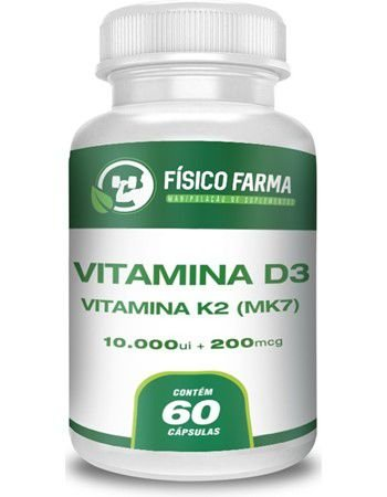 VITAMINA D3 10.000UI+ VITAMINA K2 (MK-7) 200mcg  60 Cápsulas