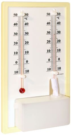 Termo Higrômetro Bulbo Seco E Umido Base plástica Incoterm