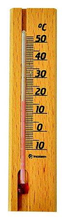 Termômetro em madeira para ambiente -10 A 50°C Incoterm