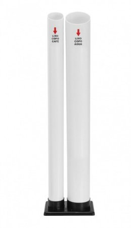 Lixeira para descarte de copos de água e café duplo - 2 tubos