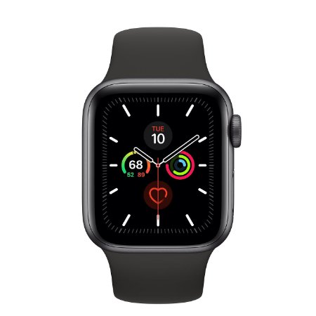 Watch Series 5 40mm Caixa Cinza-Espacial de Alumínio com Pulseira Preta Esportiva: Modelo GPS