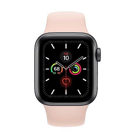 Watch Series 5 40mm Caixa Gold de Alumínio com Pulseira Rosa Esportiva: Modelo GPS