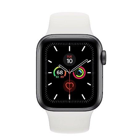 Watch Series 5 44mm Caixa Prateado de Alumínio com Pulseira Branca Esportiva: Modelo GPS