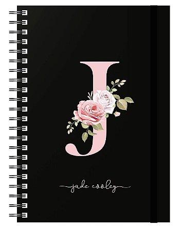 Planner : Letra Floral - Capa Preta