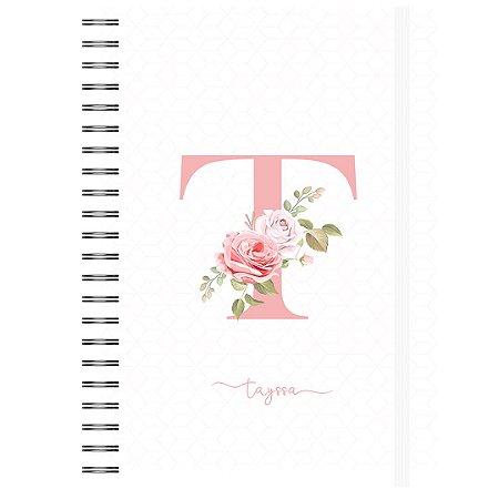 Caderno A5 : Letra Floral - Capa Branca