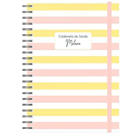 Caderneta de Saúde - Listrado Rosa/Amarelo