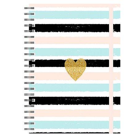 Caderno A5 : Listras Coração