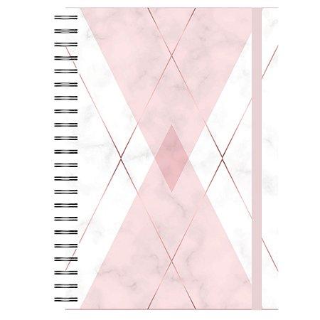 Caderno A5 : Mármore Losango Rose