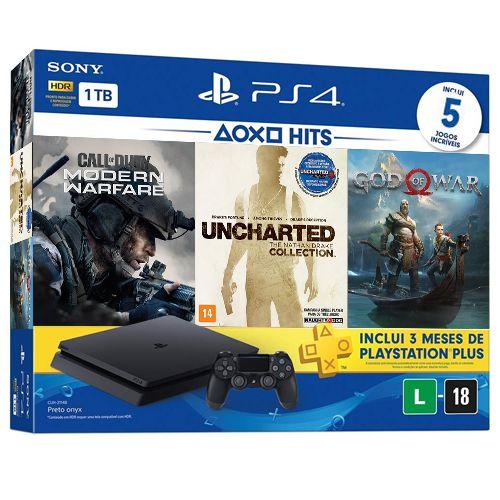 Console Playstation 4 Slim 1TB Mega Pack 5 Jogos