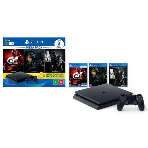 Console Playstation 4 Slim 1TB Bundle Hits Gran Turismo + 3 Meses de PS Plus