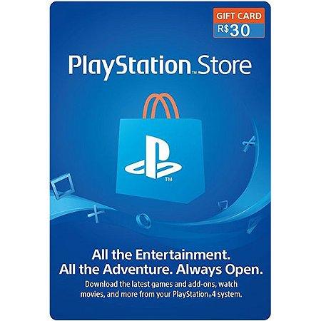 Cartão PSN R$ 30 Reais Playstation Network Brasil