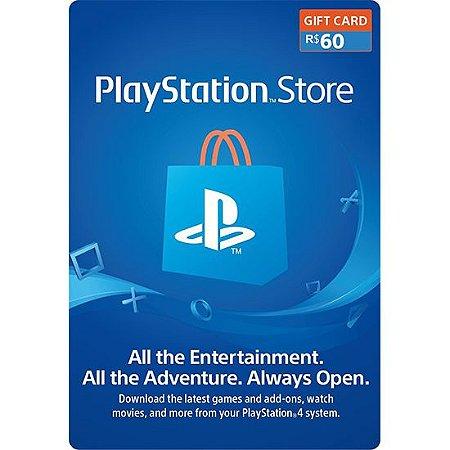Cartão PSN R$ 60 Reais Playstation Store Brasil