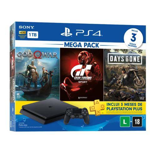 Console Playstation 4 Slim 1TB Bundle 10 com God of War, Gran Turismo, Days Gone, 90 dias de PSN PLUS