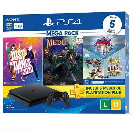 Console Playstation 4 Slim 1TB Bundle 11 com Just Dance 2020, MediEvil + 3 jogos de PlayLink Knowledge is Power