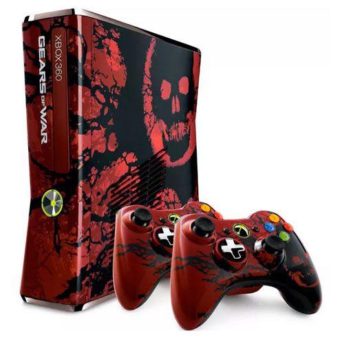Console Xbox 360 Slim 250GB 2 Controles Edição Limitada Gears of War 3 Seminovo