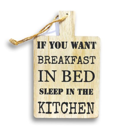 PLACA KITCHEN FRASE DECORATIVA DE MADEIRA 13X23 CM