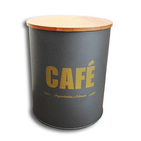 PORTA MANTIMENTO LATA CINZA CAFE 14 CM