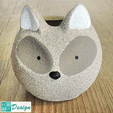 CACHEPÔ CIMENTO FOX CINZA 9,2x 8x 9cm