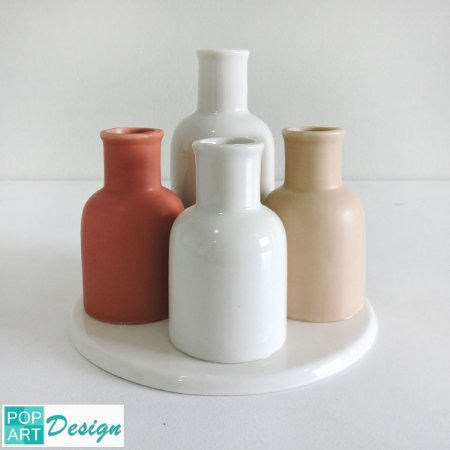 VASO PORCELANA CUTE BOTTLE BRANCO E NUDE 16x15x16