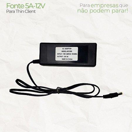 Fonte Adaptador de alimentação externo 12V 5A para Thin Client e Mini Pc