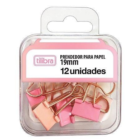 PRENDEDOR BINDER 19MM ROSA PASTEL C/12 TILIBRA