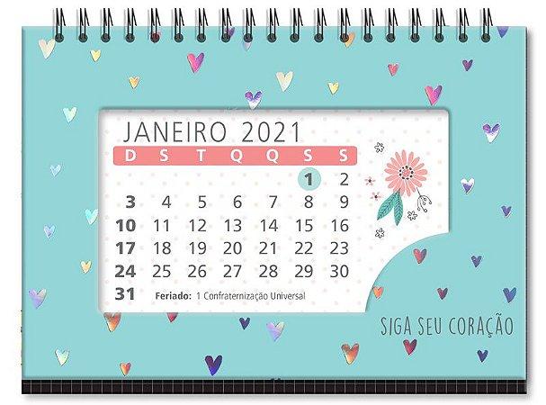 CALENDÁRIO DE MESA FINA IDEIA CORAÇÕES HOLOGRÁFICOS 2590