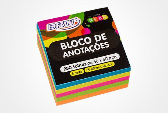 BLOCO ADESIVO SMART NOTES 50X50 NEON 250 FOLHAS BRW