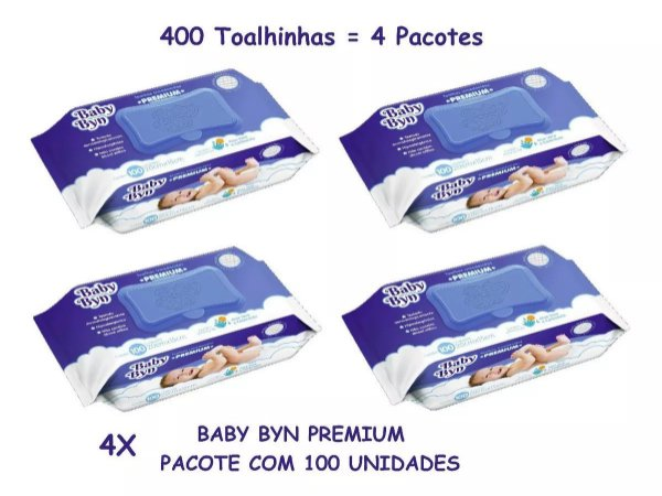 Kit 4 Toalha Lenço Umedecido Baby Byn Premium 100 Unidade