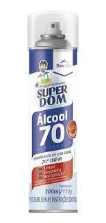 Alcool Spray 70 Super Dom 300ml 170g - Aerosol - Domline