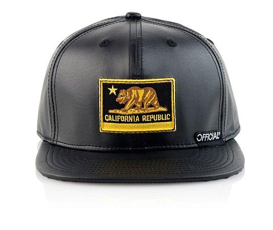 Boné Official Black & Gold California Patch Faux Leather