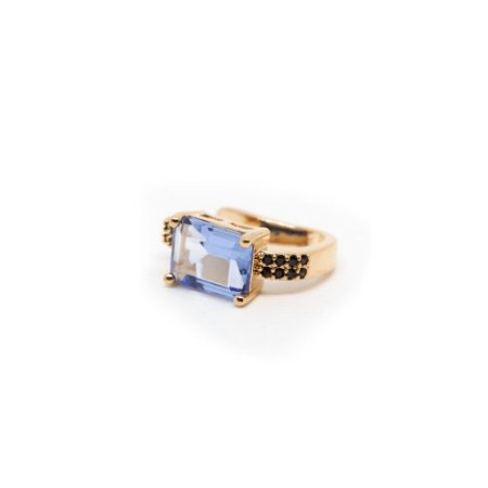 Fake Piercing Cristal London Blue Folheado a Ouro Rosê
